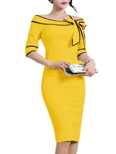 Open Shoulder Bow Contrast Trim Bodycon Dress – wanokitty dress work outfit wear to work dresses classy dresses for work business clothes work outfit dress fashion style work Elegant Dresses, Nice Dresses, Dresses For Work, Formal Dresses, Dress Work, Petite Dresses, Women's Dresses, Dress Skirt, Bodycon Dress