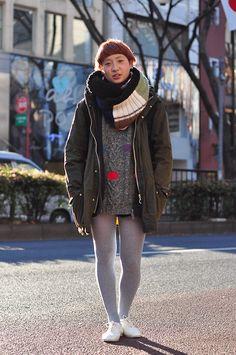 Cute way of wearing parka