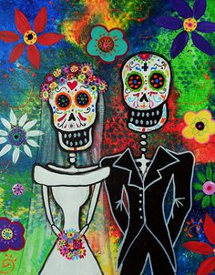 DAY OF THE DEAD,wedding,couple, lovers, love, anniversary, aniversario,birthday, popular, gift, best-cool, DIA DE LOS MUERTOS, SKULL, SKELETON, FOLK ART, MEXICAN, MEXICAN PAINTINGS, DOG PAINTINGS, FLORALS, FLOWERS, WHIMSICAL, PRISTINE CARTERA-TURKUS, PRISARTS, OUTSIDER ART, BRUT ART, FLORALS,
