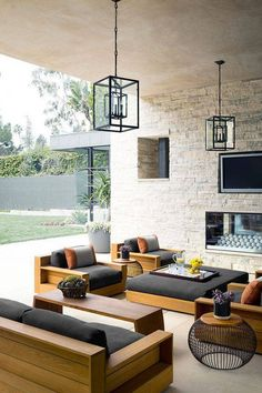 Dreaming The patio, complete with a fireplace and James Perse teak furniture. Douglas Friedman - The patio, complete with a fireplace and James Perse teak furniture. Modern Outdoor Furniture, Teak Furniture, Furniture Decor, Furniture Design, Furniture Layout, Patio Furniture Ideas, Refurbished Furniture, Bedroom Furniture, Street Furniture