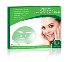 iBeautyLabs Aloe Vera Collagen Face Mask - Anti Aging Korean Beauty Face Mask - Deeply Moisturizing, Rejuvenating, Toning, Acne & Blemishes Reducing- 10x Absorption Rate- For All Skin Types(Pack Of 5)