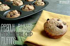 peanut butter and banana chip muffins - slim sanity