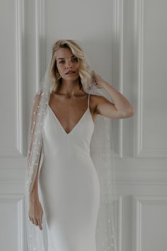 Jordan is French crepe luxury and striking simplicity. She will hug all the right places with classic elegance. Classic Elegance, Dress First, Formal Dresses, Wedding Dresses, Veil, Jordans, Dressing, Bridal, Elegant