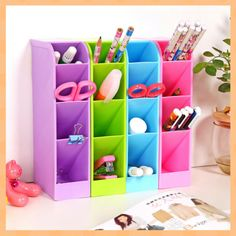 Ecofriendly Plastic Home Office / Drawer Storage Box Organizer Container Add a pop of color to your home office while keeping all desktop tools in order. Plastic storage container may be stood vertica