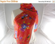 ON SALE Vintage Red Abstract Floral Semi-Sheer by Dockb30Crafts