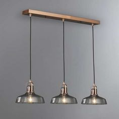 Suva 3 Light Diner Fitting great value if we can adjust the cables? Dining Lighting, Glass Kitchen Lights, Cool Lighting, Dining Room Lighting, Ceiling Lights, Ceiling Pendant Lights, Light Fixtures, Light Fittings, Kitchen Light Fittings