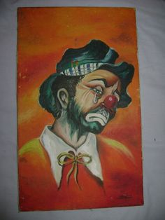 Vintage Emmett Kelly Hobo Clown Painting on Black Velvet in Original