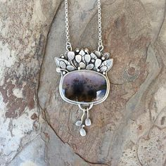Dendritic Opal Necklace in Fine Silver. Handmade Jewelry for Opal Necklace, Heart Pendant Necklace, Earrings, Modern Jewelry, Silver Jewelry, Jewelry Crafts, Jewelry Ideas, Silver Pendants, White Gold Diamonds