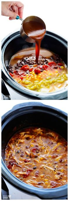 Slow Cooker Chicken Enchilada Soup -- so delicious, plus it only takes 10 minutes to prep! Skipped the enchilada sauce and corn. Slow Cooker Huhn, Slow Cooker Chicken, Slow Cooker Recipes, Soup Recipes, Cooking Recipes, Crockpot Chicken Enchilada Soup, Oven Chicken, Crock Pot Food, Gourmet