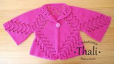 """""""Gilet shrug forest (PDF available in french and english) - free crochet pattern"""", """"Ravelry: Shrug forest pattern by Thali Créations"""", Crochet Pillow Patterns Free, Crochet Baby Dress Pattern, Baby Boy Crochet Blanket, Granny Square Crochet Pattern, Crochet Jacket, Crochet Cardigan, Free Crochet, Free Pattern, Vestidos Bebe Crochet"""