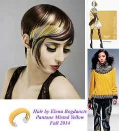 Pantone Misted Yellow Fall 2014 Top 10 Color. Beautiful and warming! Congrats to Elena Bogdanets for this gorgeous hair color design! #HotOnBeauty