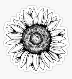 She was as wild as the flowers sticker girasoles dibujo, imagenes para cuad Sunflower Tattoo Shoulder, Sunflower Tattoo Small, Sunflower Drawing, Sunflower Tattoos, Outline Drawings, Tattoo Drawings, Sunflower Black And White, Black And White Stickers, Snapchat Stickers
