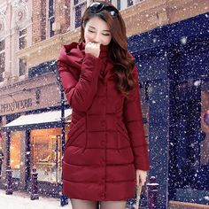 121ee957a3984 2016 new winter long down cotton coat women s fashion slim warm outerwear  female overcoat hooded plus size QY15102201-in Parkas from Women s Clothing  ...