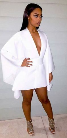 There is 0 tip to buy dress white dress v neck v neck dress party dress eve White Fashion, Look Fashion, Fashion Models, Womens Fashion, Dress Fashion, All White Outfit, White Outfits, All White Party Outfits, White Party Attire