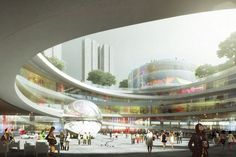 Urban Building Complex For Shenzhen / Mecanoo Visualisation, Architecture Visualization, Shoping Mall, Photovoltaic Cells, Mall Design, Design Competitions, Master Plan, Shopping Center, Urban Design