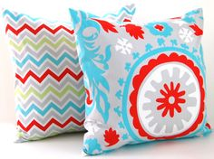 Chevron Pillows Decorative Throw Pillow Covers Missoni Style 16 x 16 Inches - Bright Multicolor Chevron and Suzani. $32.00, via Etsy.