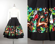 Vintage 1950s Circle Skirt | 50s DEADSTOCK Mexican Cotton Novelty Print Hand Painted Floral Animals Black Souvenir Skirt (small) | Birthday Life Vintage on Etsy