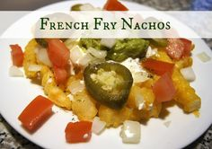 French-Fry-Nachos  If I use homemade yogurt instead of sour cream it is closer to healthy.