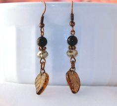 Blue sparkle glass leaf dangle earrings, gift for her, brown leaf, nature, boho…