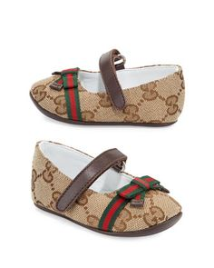 Marylin Canvas Guccissima Mary Jane Flat, Infant by Gucci at Neiman Marcus.