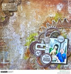 """'My Favourite Person' layout by Mabel Sim Design Team (United Kingdom) member for Kaisercraft Official Blog. Featuring August 2017 New """"Factory 42""""  collection. Learn more at kaisercraft.com.au/blog - Wendy Schultz - Kaisercraft Layouts."""