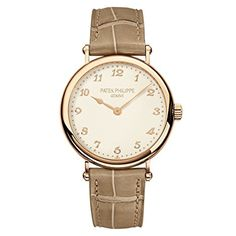 Patek Philippe Ladies Calatrava Rose Gold 35mm on Beige Leather Strap - Ultra-thin mechanical self-winding movement; Caliber 240; Grained, cream-colored dial, gold pplied numerals; Strap: alligator with square scales,  and-stitched, matt pearly beige; Prong buckle; Sapphire-crystal case back; Water resistant to 30 m; Rose gold Case diameter: 34.6 mm; Power reserve: Min. 48 hours.(affiliate link)