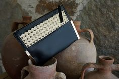 Leather Clutch Bag with Straw White Statement Necklaces, Metal Necklaces, Fringe Necklace, Leaf Necklace, Leather Clutch Bags, Leather Belts, Suede Bracelet, Black Italians, Handmade Purses