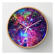 Astral Nebula Wall Clock (£20) ❤ liked on Polyvore featuring home, home decor, clocks, wall clocks, lcd wall clock, lcd clock, abstract wall clock, battery powered clock and battery powered wall clock
