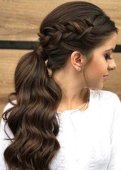 Terrific side braid on long dark brown hair with ponytail