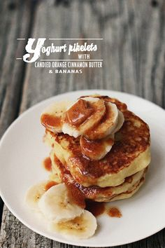 Milk and Honey: Yoghurt Pikelets with Candied Orange Cinnamon Butter and Bananas