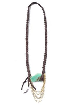 """Look what I found at LizJames.com... Rebecca - Hand braided leather, chrysoprase, and chains make lovely Rebecca your """"go-to"""" necklace for a casual look. 31""""L"""