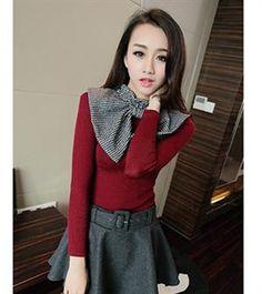 Korean Fashion Bow Neck Slim Knitting Shirt