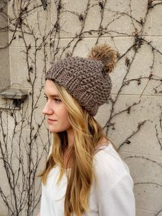 Knitted Knit Beanie Hat with Faux Fur Pom Pom. Handmade in Chunky a9fc524b6b6