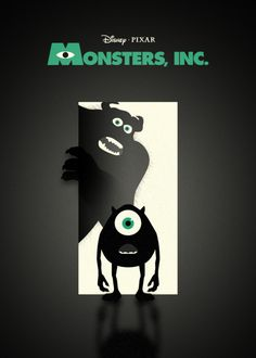 Monsters, Inc. is a 2001 American computer-animated comedy film directed by Pete Docter, produced by Pixar Animation Studios and released by Walt Disney Pictures. Minimal Movie Posters, Cinema Posters, Cool Posters, Space Posters, Monsters Inc, Disney Love, Disney Art, Walt Disney, Plakat Design