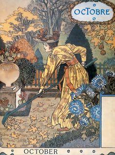 """Eugène GRASSET Calendrier """"La Belle Jardinière"""" 1896 - octobre"""
