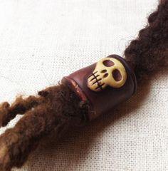 Skull dreadlock bead by feythcrafts on Etsy, $12.00 :: Shop DreadStop.Com for Leather Dreadlock Cuffs, Ties & Dread Beads #dreadstop