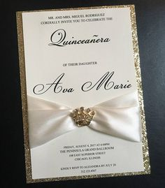 Express yourself through your quinceanera invitations ivory and gold glitter embellished quinceanera invitation solutioingenieria Image collections