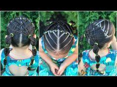 Peinado para niñas con ligas la maya y trenzas |Peinado para niñas faciles y rapidos de hacer|LPH - YouTube