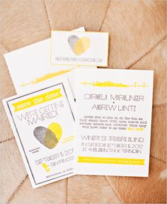 yellow and gray wedding invite with fingerprints | photo: www.brookebeasleyphotography.com