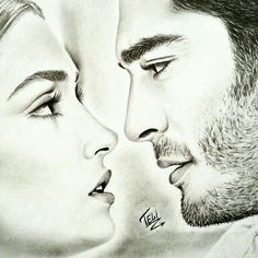 ❤❤hayat and murat ❤❤ Cute Love Couple, Couples In Love, Romantic Couples, Best Couple, Murat And Hayat Pics, Couple Sketch, Cute Love Stories, Hande Ercel, Celebrity Drawings