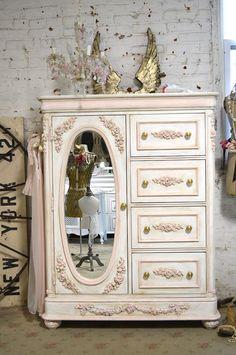 LGCH25 Chic minable romantique Français commode peinte Cottage