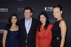 """America Ferrera, Nicholas Kristof, Sheryl WuDunn and Olivia Wilde pose on the red carpet during the Revlon and Tribec Film Institute Screening of """"HALF THE SKY: Turning Oppression into Opportunity"""" at SVA Theater on September 13, 2012 in New York City."""