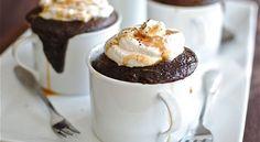 Mo-Kahlua Mugs- chocolate cake with coffee, kahlua, whipped cream, and caramel. A mug full of yes.