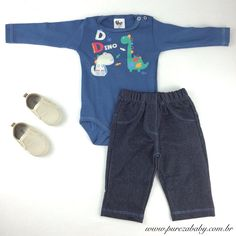 Look para nossos príncipes baby !  ✔️ Conjunto com calça jeans R$ 49,90 http://purezababy.com.br/body-dino-com-calca-jeans-bb2.html  ✔️Mocassim R$ 52,90 http://purezababy.com.br/sapato-babyi-palha.html