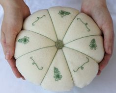Gift for Mom ~ Jumbo Pin Cushion ~ Large Green and Cream Pincushion ~ Extra Large Felt Pincushion ~ Hand Embroidered Felt Pin Cushion by SomeLittleGood on Etsy