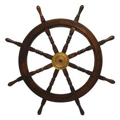 Handcrafted sheesham wood ship's wheel wall decor with turned spindles and a brass center.