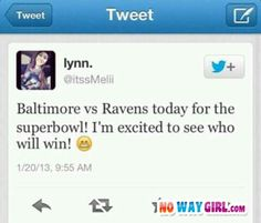 Baltimore Vs Ravens? Trying To Impress The Some Guy Fail - NoWayGirl