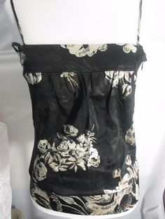 Black Silk Cami Size Small Petites Floral Spaghetti Straps Guess Collection #GUESSCOLOECTION #TankCami