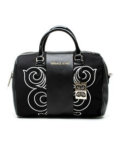 Another great find on #zulily! Black & White Swirl Convertible Leather Satchel by Versace Jeans Collection #zulilyfinds