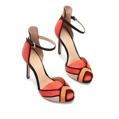 SANDALIA PULSERA  Ankle strap sandals  46€ ZARA  In two colorways, coral and blue.